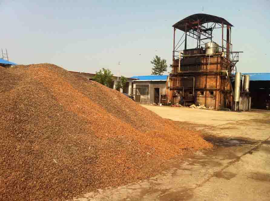 果壳炭生产现场